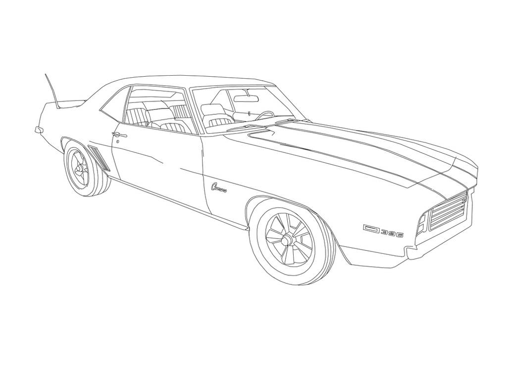 1969 chevrolet z28 camaro ss 396 v8 drawing  bnw  by