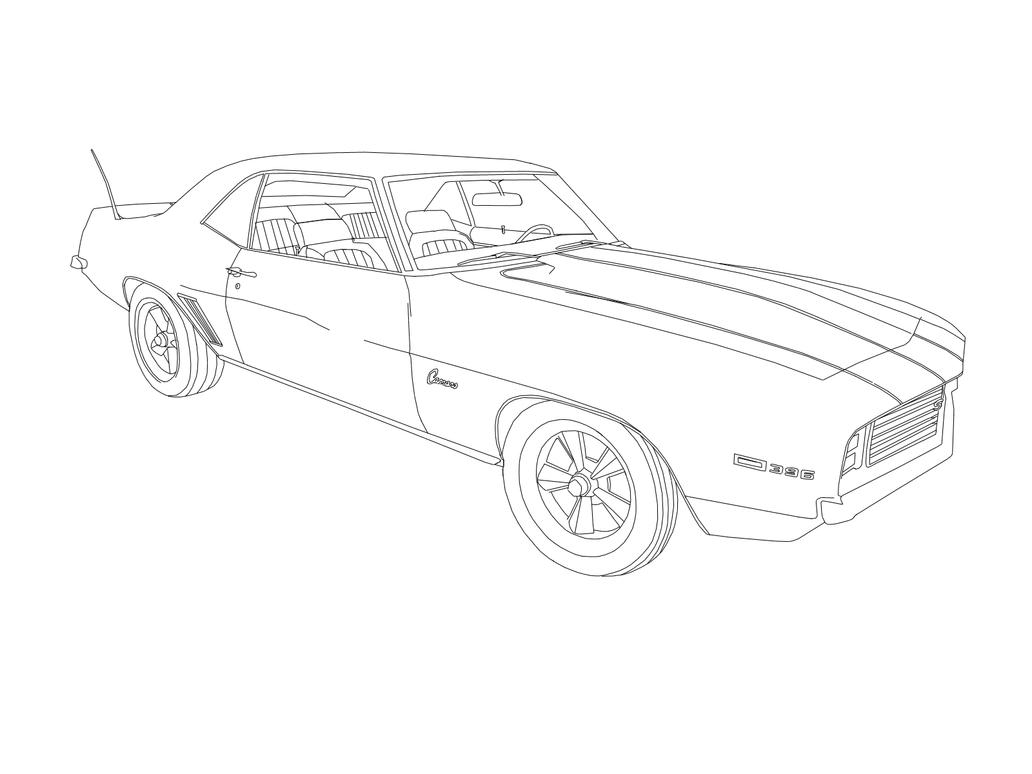 1969 chevrolet z28 camaro ss 396 v8 drawing bnw by