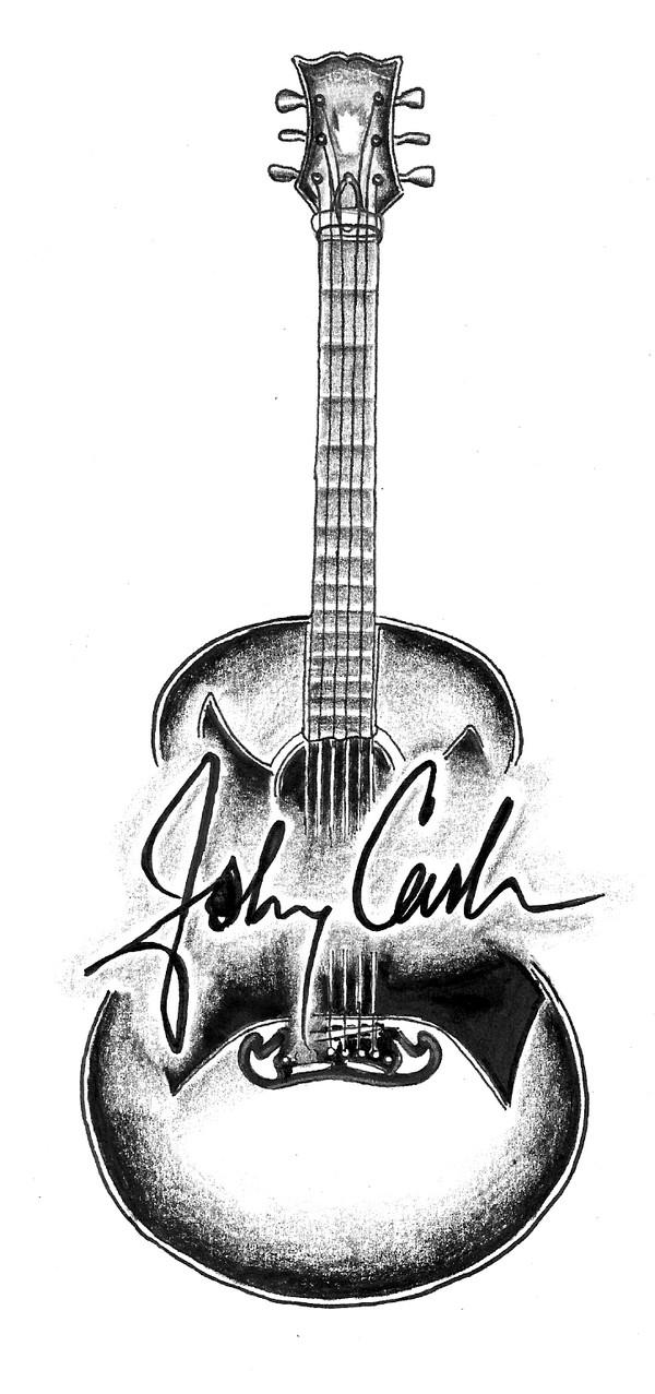 johnny cash signature guitar by heartbreakangie on deviantart. Black Bedroom Furniture Sets. Home Design Ideas