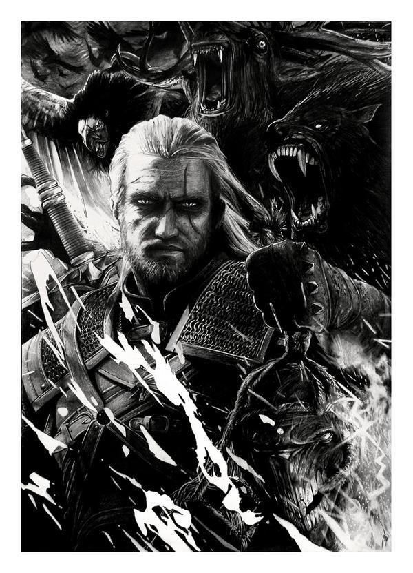 The Witcher - Geralt (pencil drawing) by WildGoska