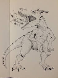 Inktober Day 19 - Dragonsaurus by OniRuu