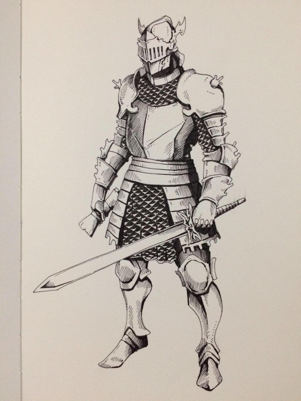 Inktober Day 25 - Ornate Knight by OniRuu