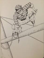 Inktober Day 27 - Goblin Pirate by OniRuu