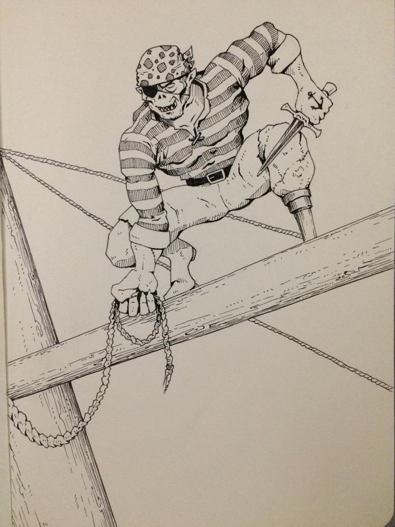 Inktober Day 27 - Goblin Pirate by OniRuu