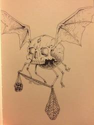 Inktober Day 28 - Winged Skull by OniRuu