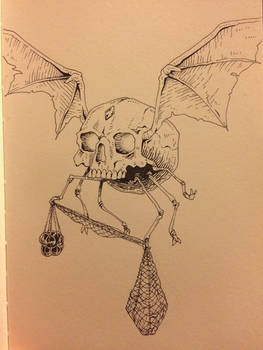 Inktober Day 28 - Winged Skull