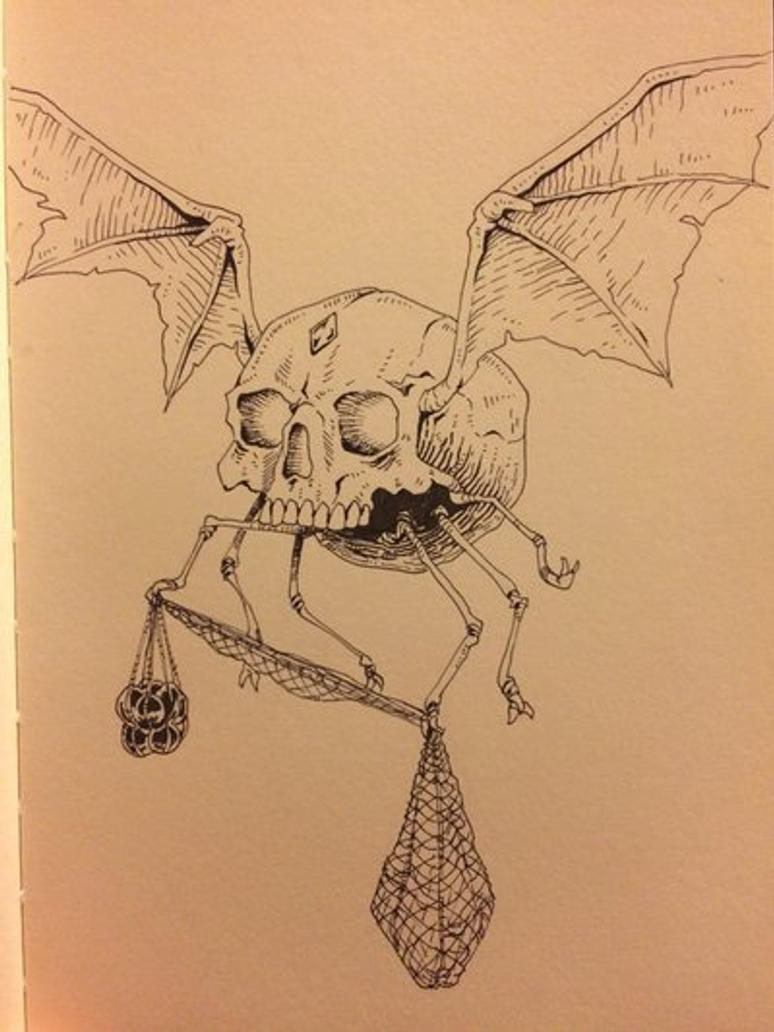 Inktober Day 28 - Winged Skull by OniRuu