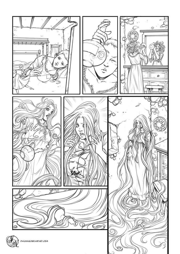 Magic accident - Comic page commission (lineart) by Ithilnaur