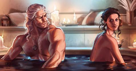 Geralt and Yennefer - screencap study