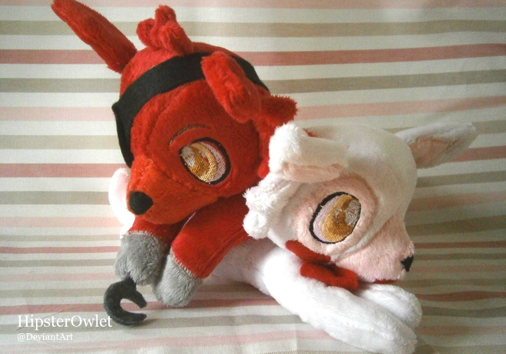 Handmade foxy and mangle plushies by hipsterowlet on deviantart