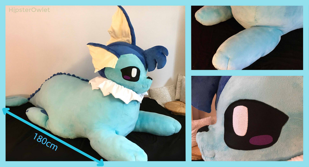 70inch Handmade Giant Chubby Vaporeon Plushie by HipsterOwlet