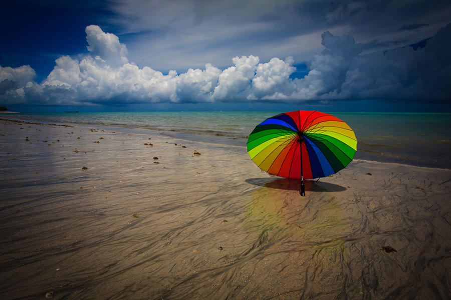umbrella on the beach by poivre
