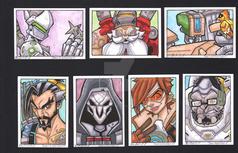 Overwatch Sketch Cards: Group 2 by badgerlordstudios