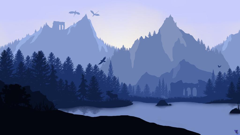 Minimalistic landscape wallpaper by zactheacorn on deviantart for Minimal art landscape