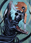 The symbiote wants Spider-woman by nunchaku