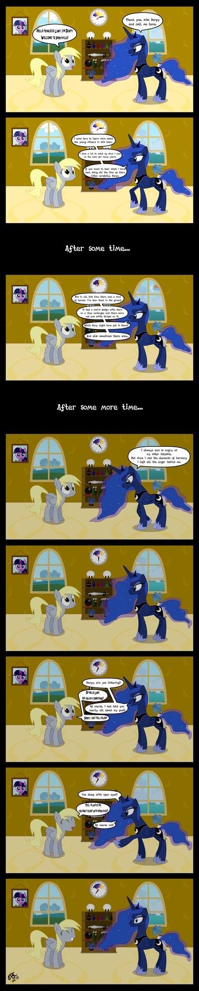 Derpy meets Luna in her new house (comic version) by TBCroco