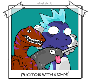 Photos with John - Narwhal and Dino by ellysketchit