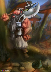 Gnome in mushrooms fore by MYGforFun