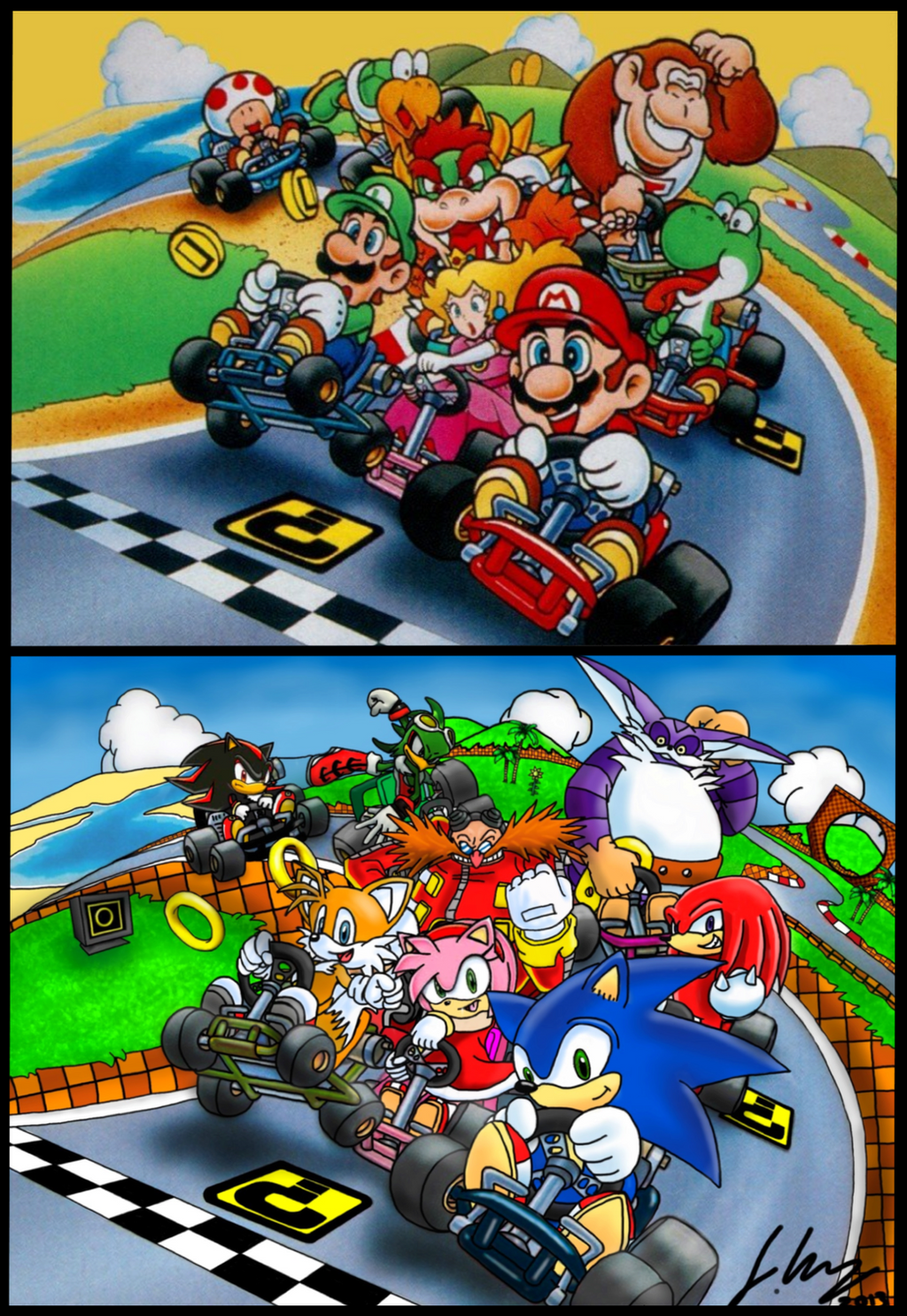 Sonic and Mario Kart. by Joker-laugh