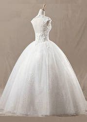 Square Neckline White Net Wedding Dress 02 by lindayang1122