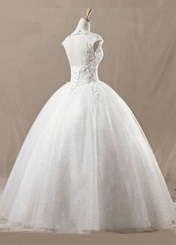 Square Neckline White Net Wedding Dress 02