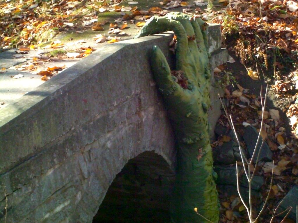 Monster Hand on Stone Bridge by DerpyDash64