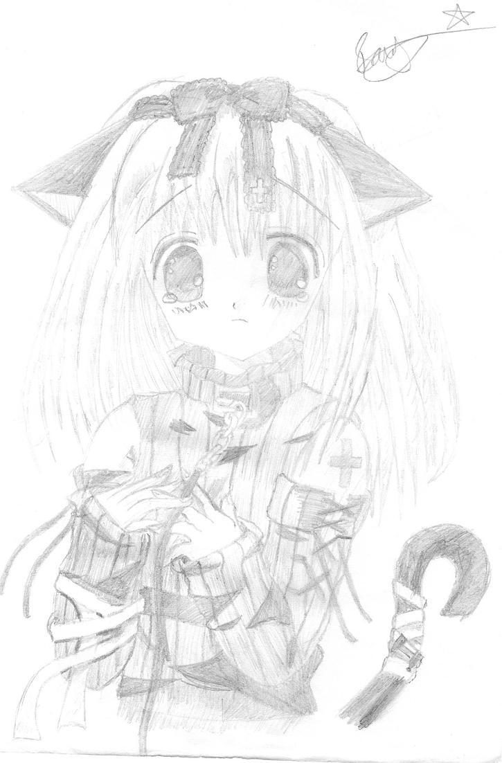 Cute Anime Girl Looking Sad By Rusty182