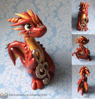 Red Music Note Dragon by RadugaDragon