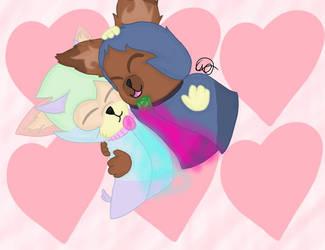 hugs between two friends. by miniwolf182