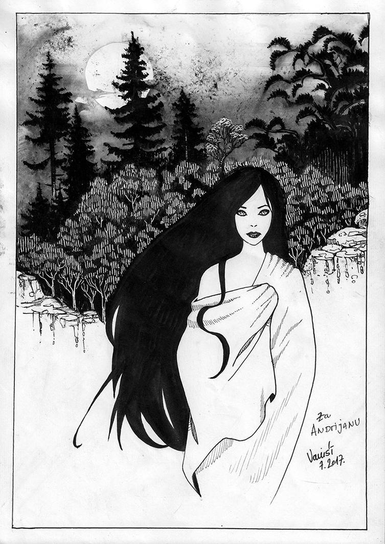 Girl at night by Vanxee