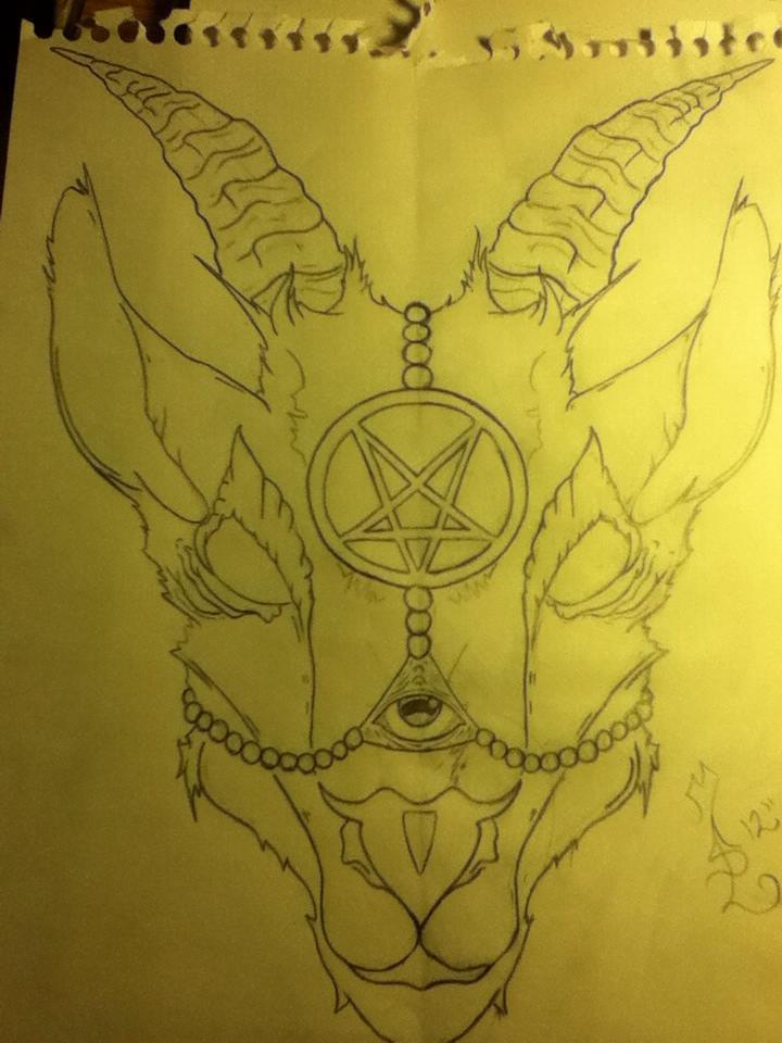 Satanic Goat Skull Drawing
