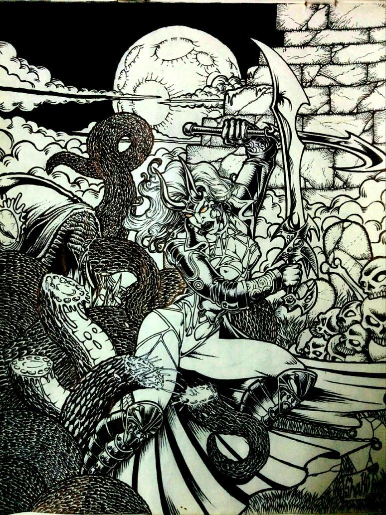 Ashtarte - Battle of Tiamat Inked by acidrose1srijit