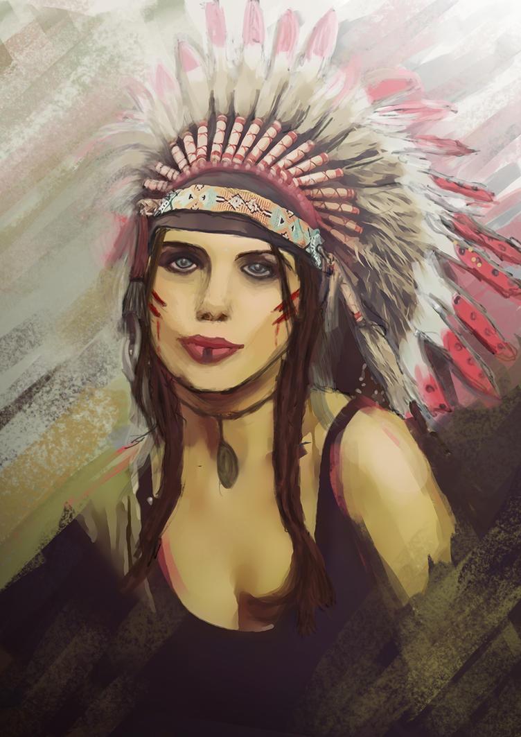 Native american woman by sonatabrej