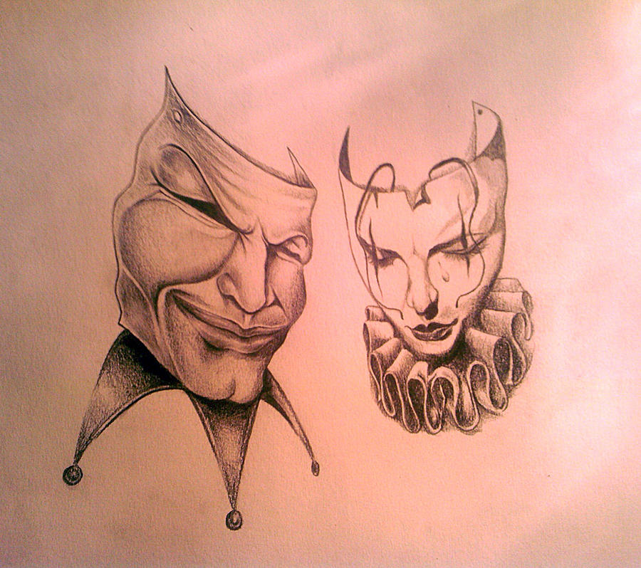 tattoo design theatre masks by tearendora on deviantart. Black Bedroom Furniture Sets. Home Design Ideas