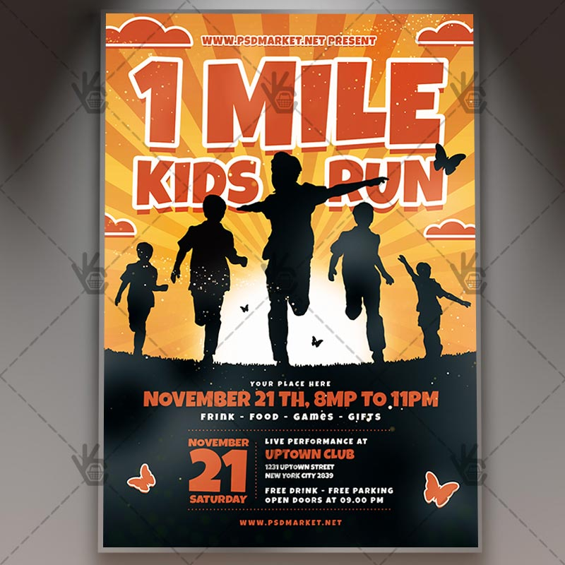 10834eab 1 Mile Kids Run - Sport Flyer PSD Template by PSDmarket on DeviantArt