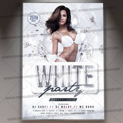 White Party Event Flyer - PSD Template by PSDmarket