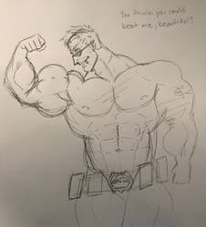 Gator loves showing her his muscles
