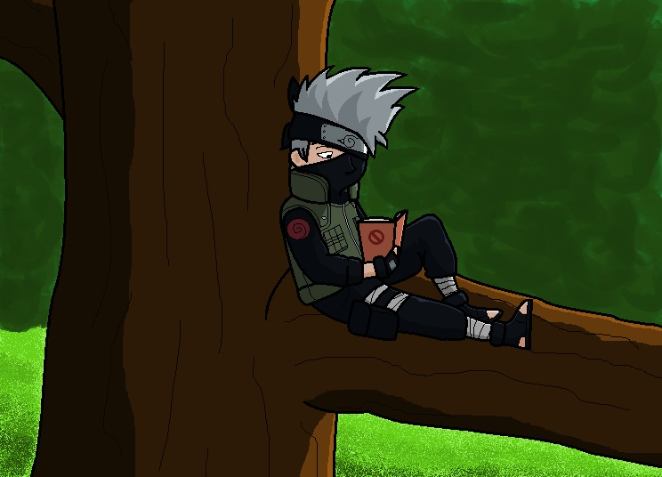 Kakashi reading by AkaneKuroNeko-chan