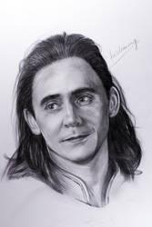 Loki Tom Hiddleston pencil drawing