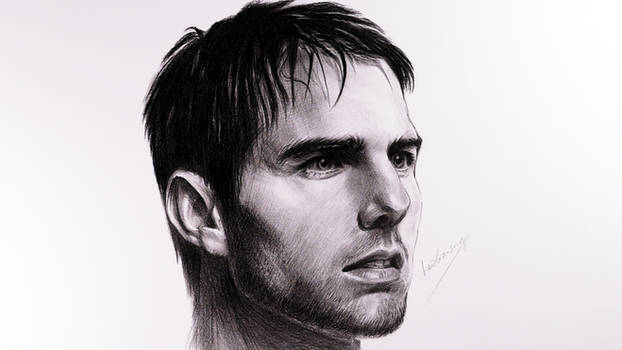 Tom Cruise portrait realistic pencil drawing