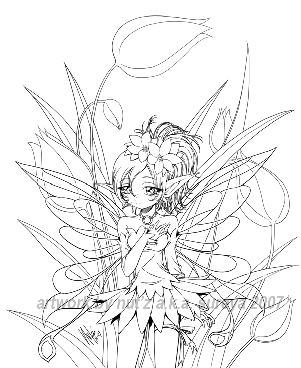 manga fairy coloring pages - fairy and tulip lineart by sureya on deviantart