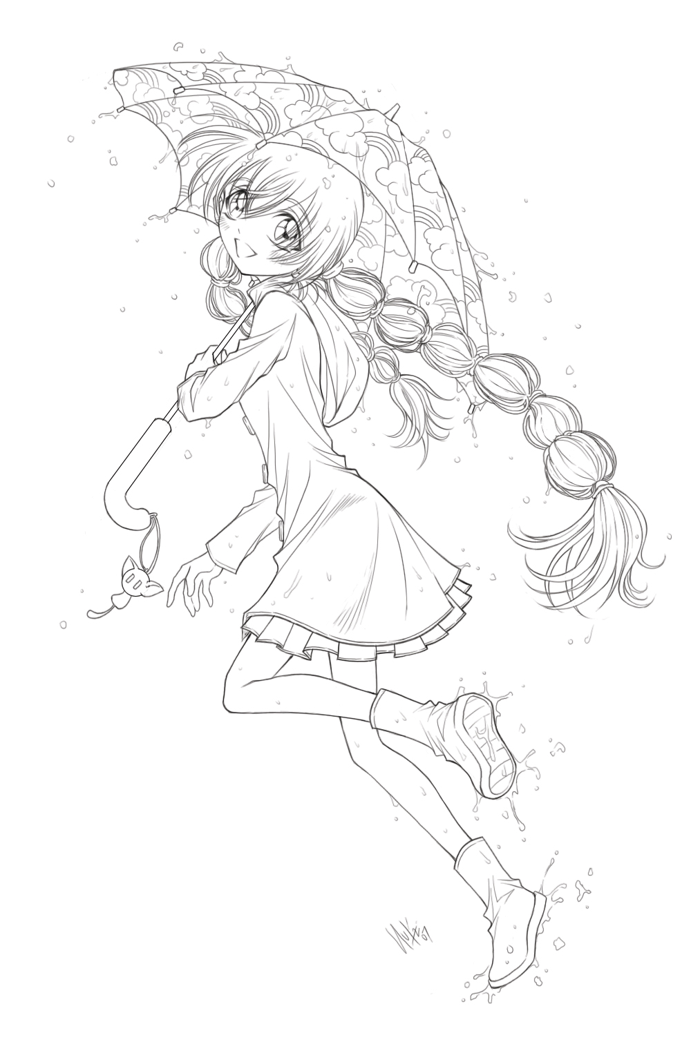 Line Art To Color : Little anime girl line art pictures to pin on pinterest