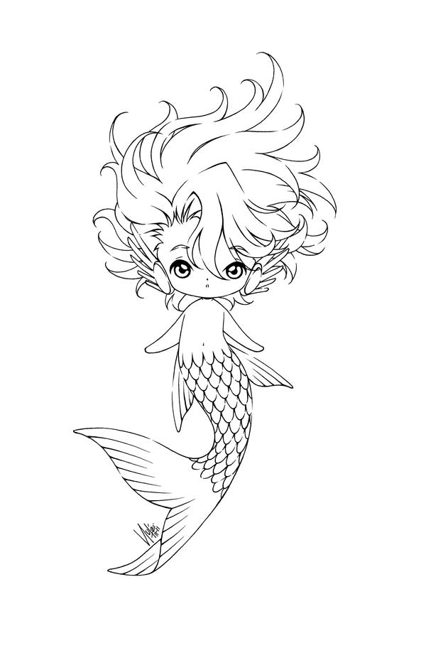 Cutie boyz 02 by sureya on deviantart for Boy mermaid coloring page