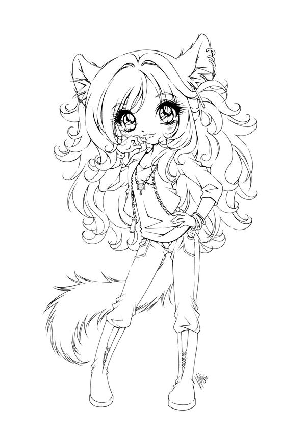Girl With Wolf Ears And Tail Drawing