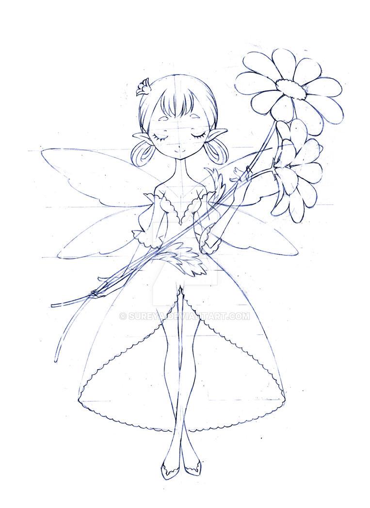 flower fairy... sketch 01 by sureya on DeviantArt