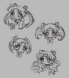 sailor moon chibi heads (doodle)... part 1 by sureya