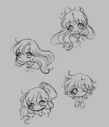 sailor moon chibi heads (doodle)... part 2 by sureya