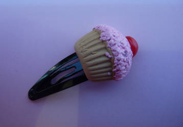 Cherry cupcake Hair Clip by PinkCakes