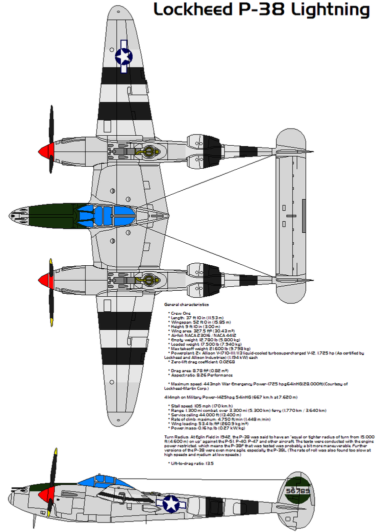 drawing side top and front views of lockheed p38 project