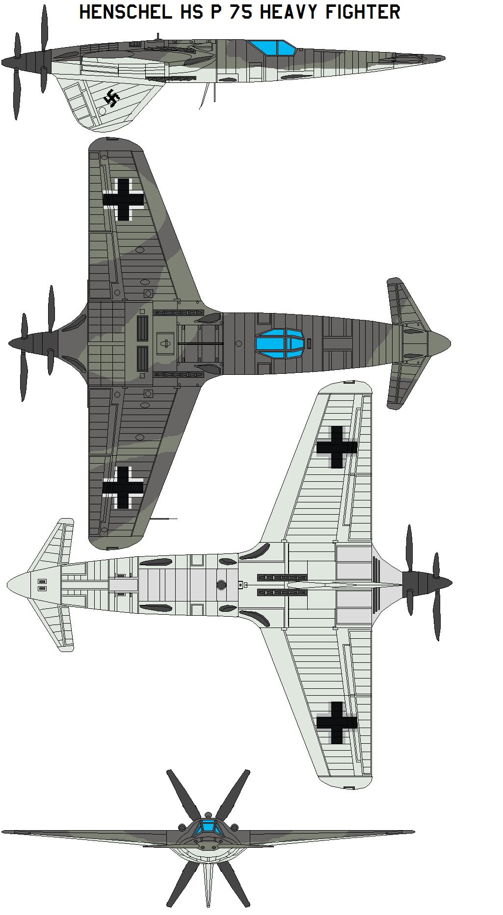 Henschel Hs P 75 Heavy Fighter by bagera3005